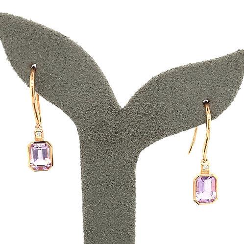 Amethyst, Diamond & 14K Rose Gold Drop Earrings