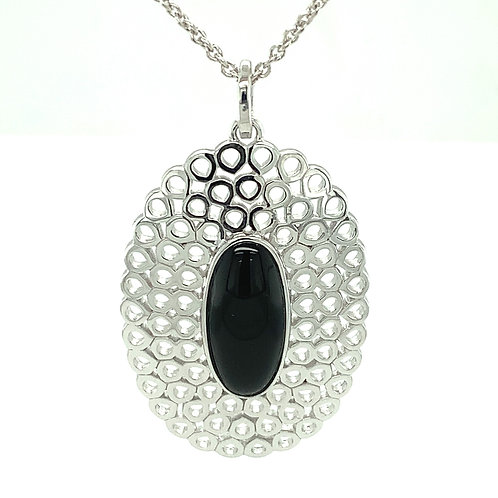 Black Onyx & Sterling Silver Pendant Necklace