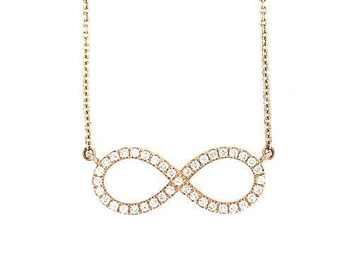 Diamond & 14K Rose Gold Infinity Pendant Necklace