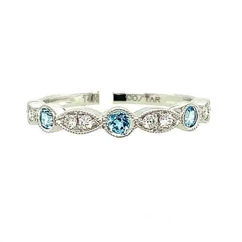 Blue Topaz, Diamond & 14K White Gold Ring