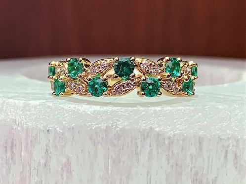 Emerald, Diamond & 14K Yellow Gold Ring