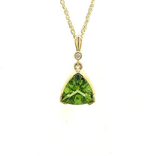 Peridot, Diamond & 14K Yellow Gold Pendant