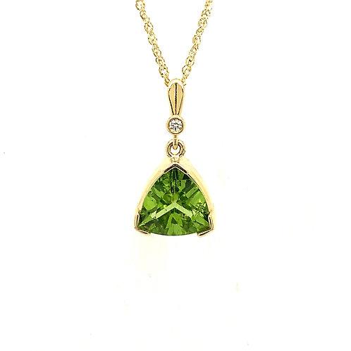 Peridot, Diamond & 14K Yellow Gold Pendant