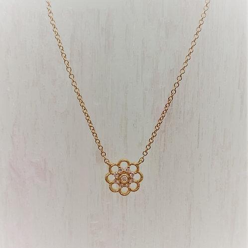 Diamond & 14K Yellow Gold Daisy Pendant Necklace