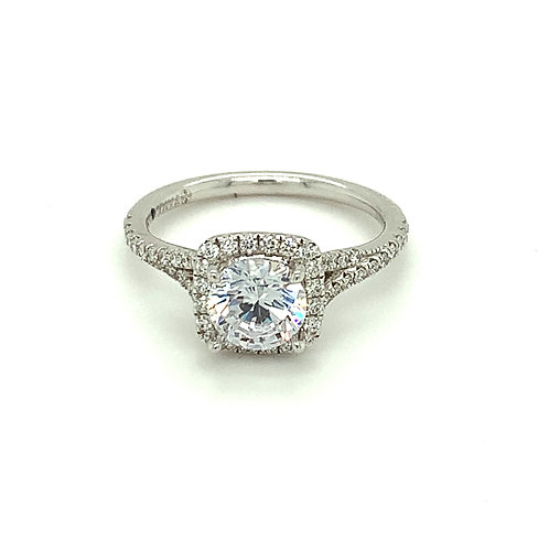 14K White Gold Square Halo Engagement Ring