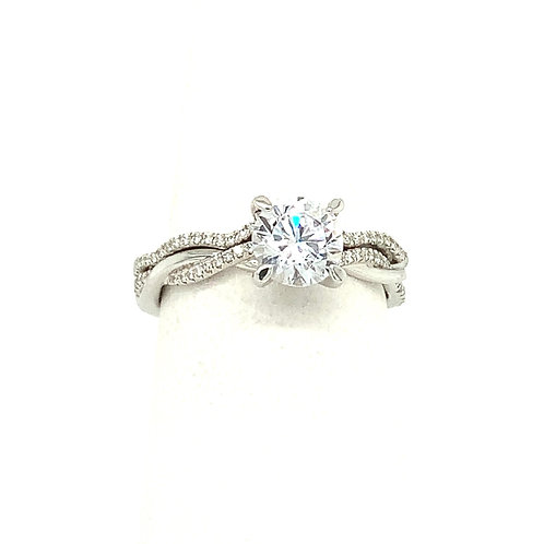 14K White Gold Double Twist Engagement Ring