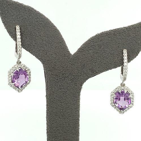 Amethyst, Diamond & 14K White Gold Hinged Drop Earrings