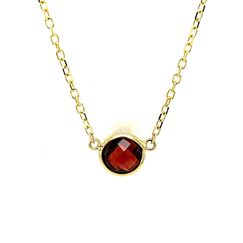 Garnet 14K Yellow Gold Pendant Necklace