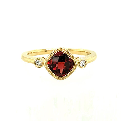 Garnet, Diamond & 14K Yellow Gold Ring