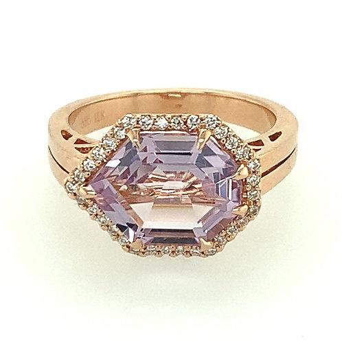 Lavender Quartz, Diamond & 14K Rose Gold Ring
