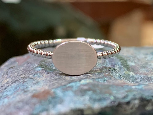 Lady's 14K White Gold Signet Ring