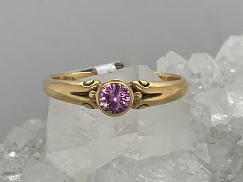 Pink Sapphire & 18K Yellow Gold Ring