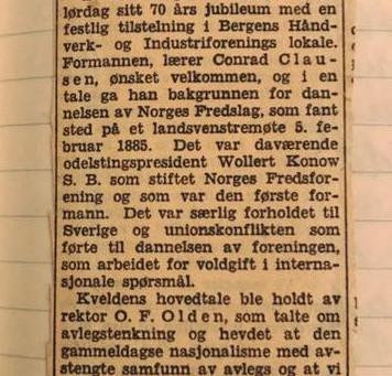 Historie til Norges eldste fredsorganisasjon
