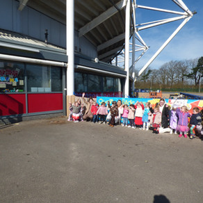 Rosedene Darlington completes sponsored toddle around The Northern Echo arena