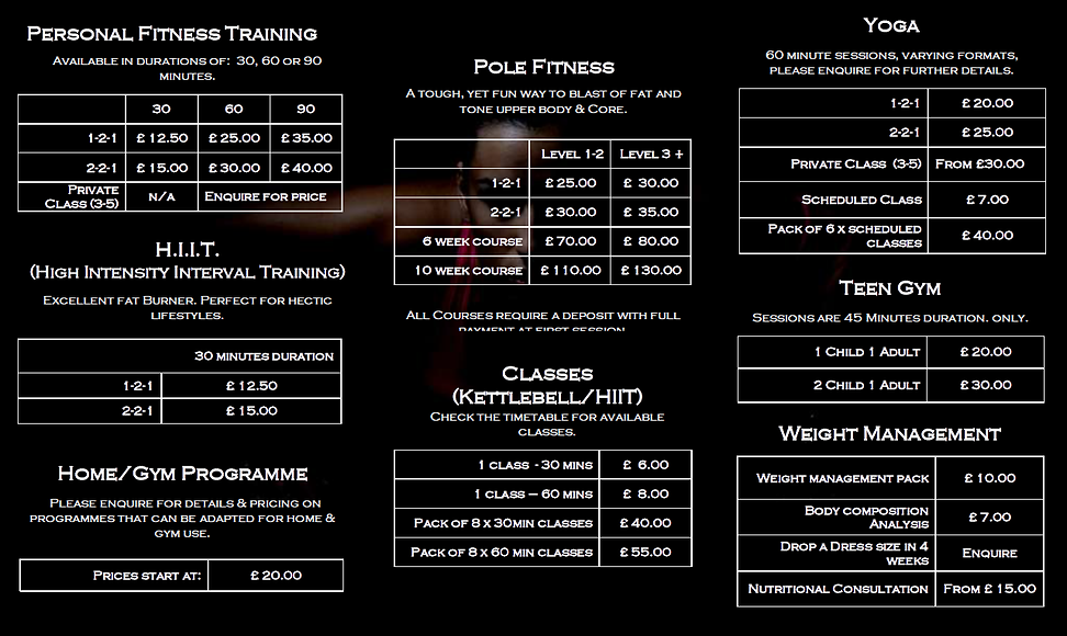 personal training and weekly classes