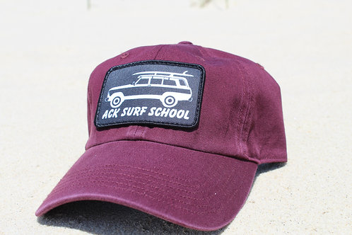 Maroon 'Dad Hat' with adjustable strap in the back