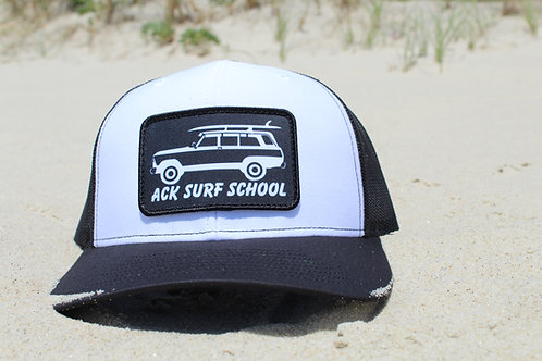 White and Black adjustable trucker hat