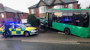 Bus crashed into garden