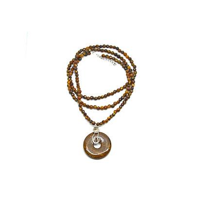 Collana di Occhio di Tigre donut Aragonite