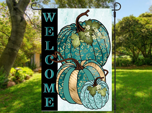 TEAL PUMPKIN GARDEN FLAG