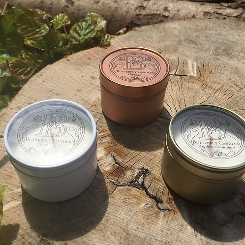 Scented Candles in Gold, White & Rose Gold Tins A - L