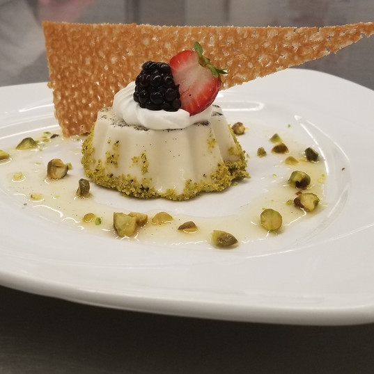 Vanilla Panna Cotta and Caramelized Pistachios - Maribel Castañeda