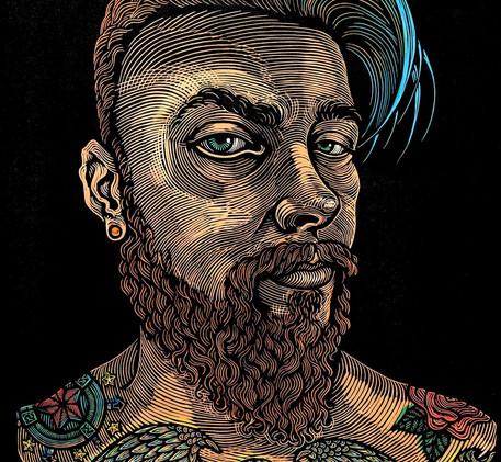 One World - Man with Tattoos by Anita Ha
