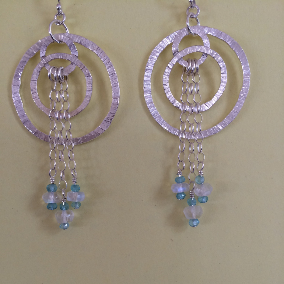 Moonstone Apatite and Silver earrings