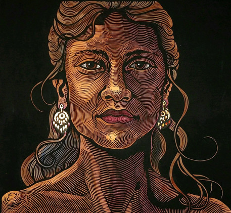 One World - Woman with Gold Earrings by