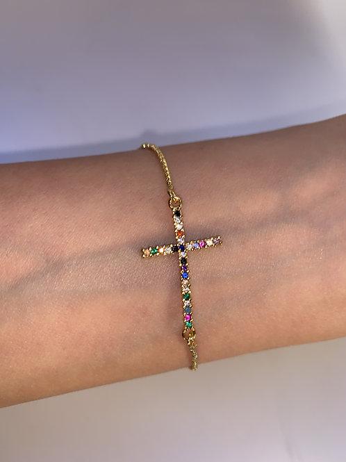 Multicolor Cross Bracelet