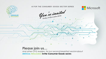 Invitation image workshop 16 Nov 2018. AI Artificial Inteligence CPG FMCG Consuemr Goods MMM Markeing Mix Modeling Modelling, Price & promotions, Forecasting, Supply-Planning