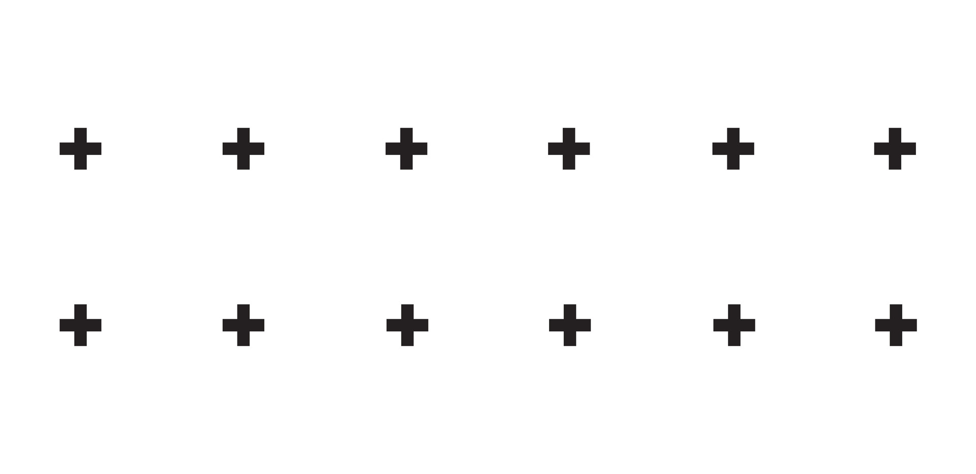 + + + . Black Onyx Plus Signs . White
