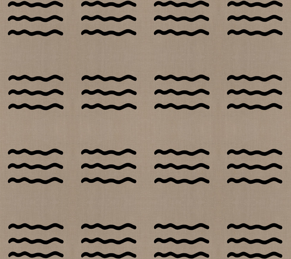 Masai Mara Linen - Onyx Waves . Neutral