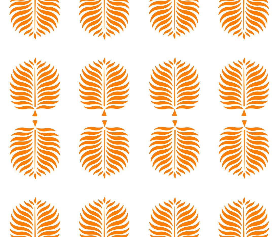 Tropical Linen . White Tangerine Fronds