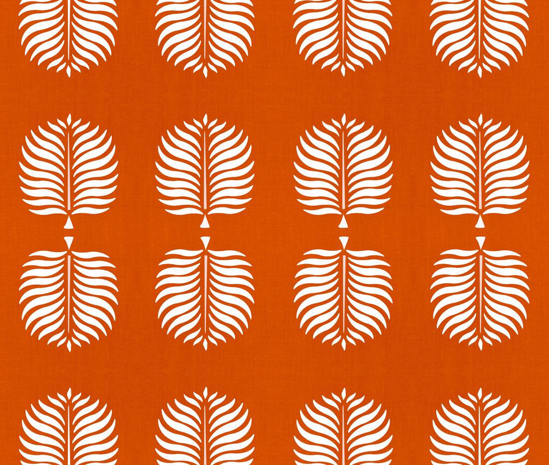 Tropical Linen . Burnt Orange White Fron