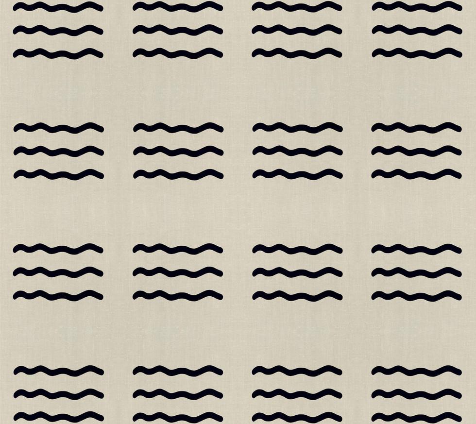 Masai Mara Linen - Onyx Waves . Sand