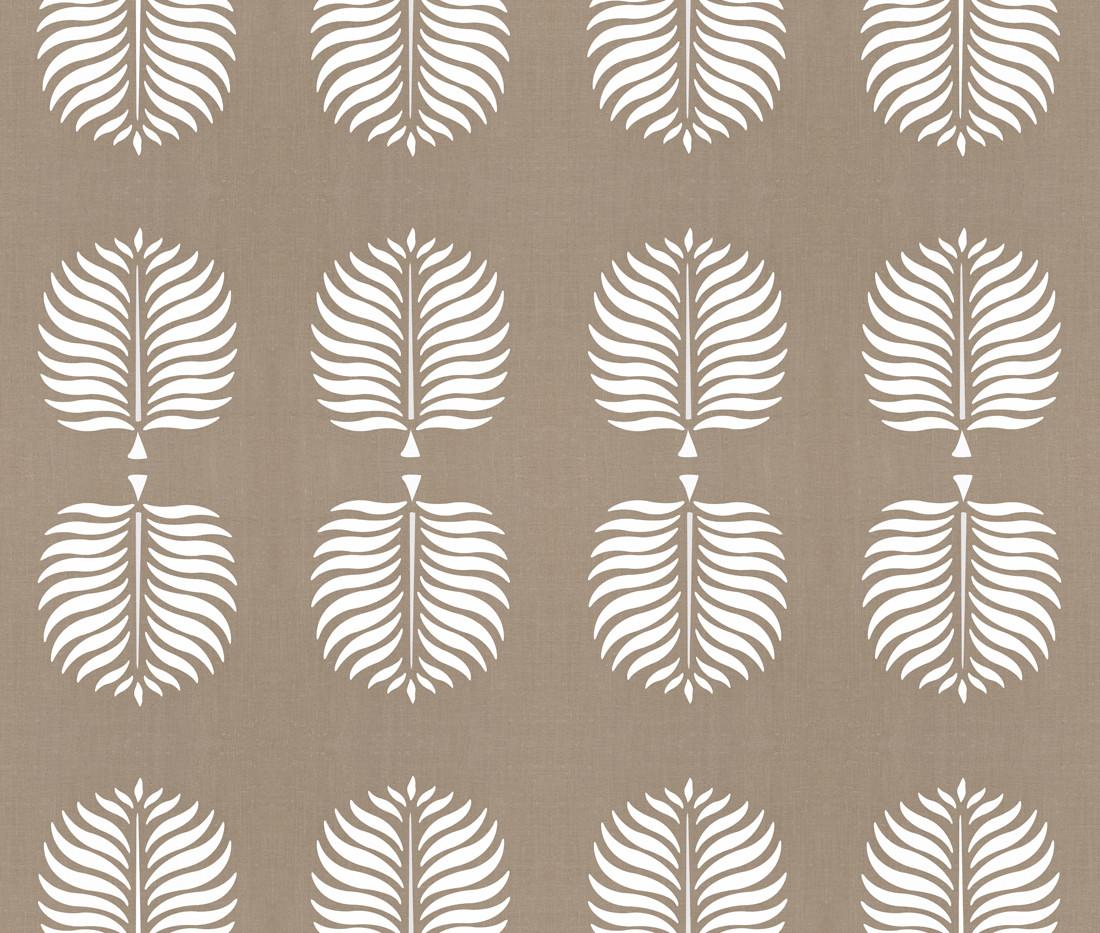 Tropical Linen . Cocoa White Fronds