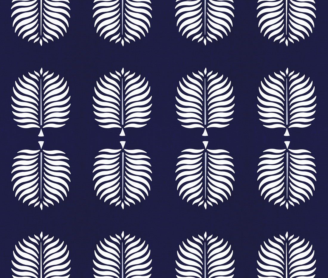 Tropical Linen . Cabana Blue White Frond