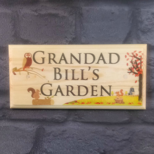Personalised Grandad's Garden Sign - Autumn Scene