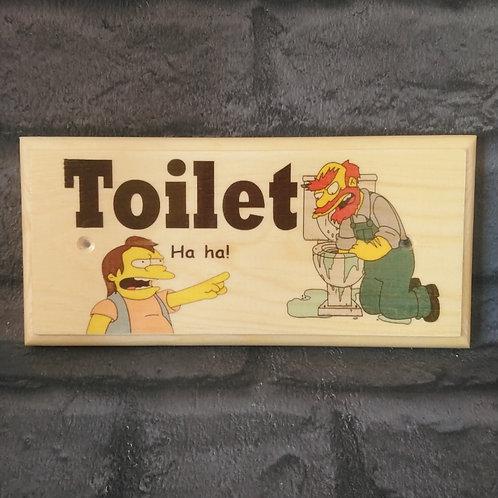 Simpsons Toilet Sign - Funny Bathroom Door Plaque