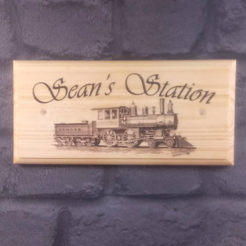 Personalised Station Sign - Train Room Plaque