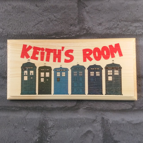 Personalised Doctor Who Sign, Childrens Doctor Who Bedroom Door Plaque