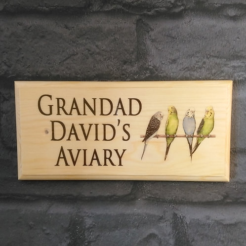 Personalised Aviary Sign - Grandads Bird Shed Plaque