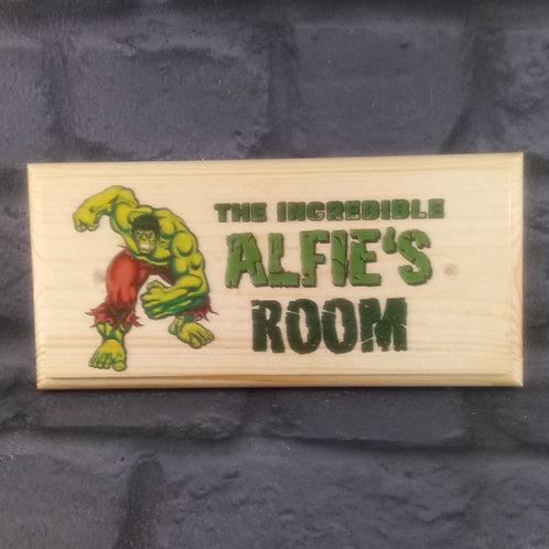 Personalised Incredible Hulk Bedroom Sign