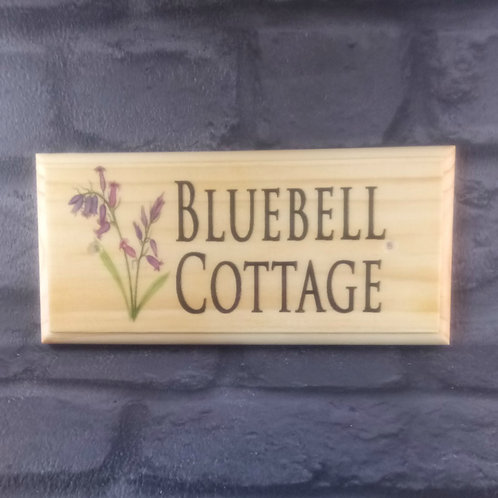 Personalised Bluebell House Sign - Bluebell Cottage Plaque