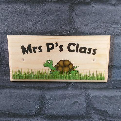 Personalised Teacher Sign, Turtle Classroom Plaque