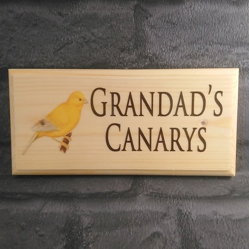 Personalised Canary Sign - Custom Aviary Plaque