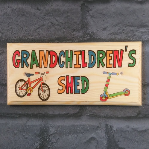 Grandchildren's Shed Sign - Custom Childrens Toy Shed Plaque