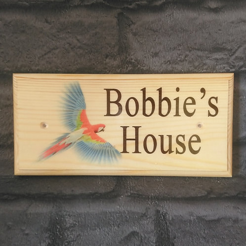 Personalised Parrot Sign - Parrot House Sign