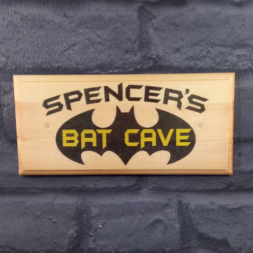 Personalised Bat Cave Sign - Batman Bedroom Plaque